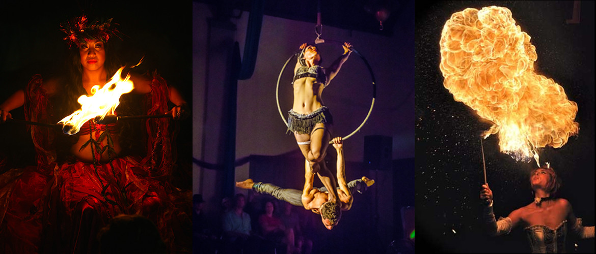 Performers Godess Pele with fire knives, Aerial Dancers, fire breathers all perform for corporate events and weddings